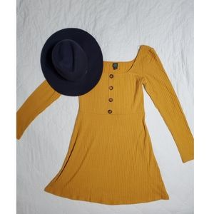 Mustard Long Sleeve Dress, Size Small, Wild Fable